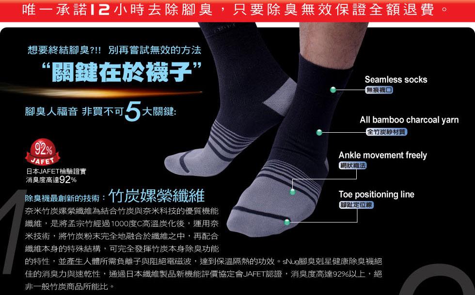 竹炭襪效果差很大--竹炭含量夠高才能有效除臭--唯一承諾 12小時去除腳臭只要無效保證完全退費的廠商